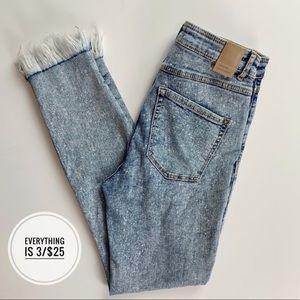 Zara Trafauc Denimwear Fringe Skinny Jeans Size 6